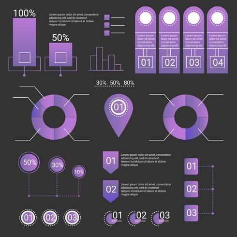 Conjunto de elementos de infografía ultravioleta