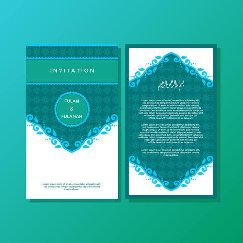 Vector de plantilla de invitación de estilo islámico ornamental verde