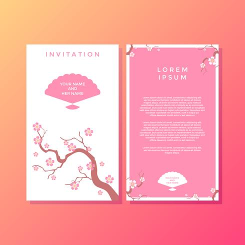 Sakura Japanese Style Invitation Template vecteur