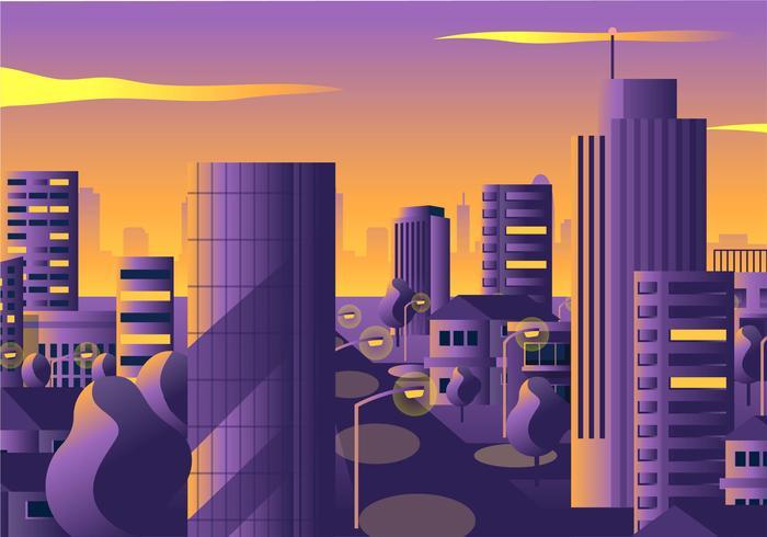 stadsbild solnedgången