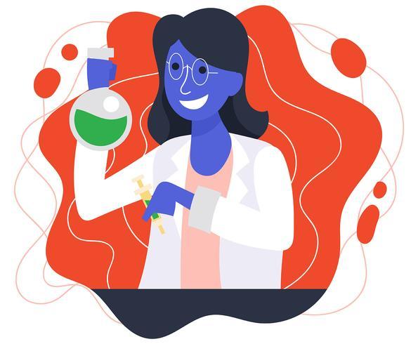 Kvinna Scientist Illustration