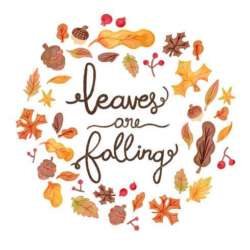 Nette Aquarell-Herbst-Elemente, die mit Beschriftung fallen