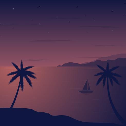 Ilustración de Vector de playa de noche