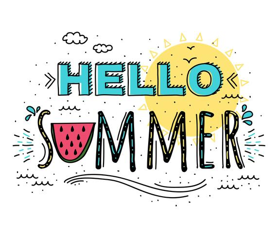 Hola verano tipografía vectorial