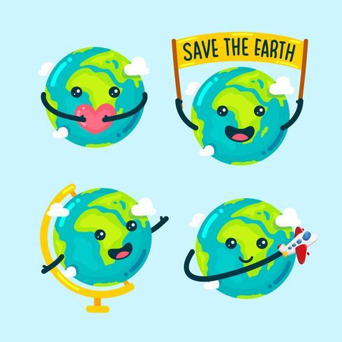 Gullig Globe Cartoon Illustration