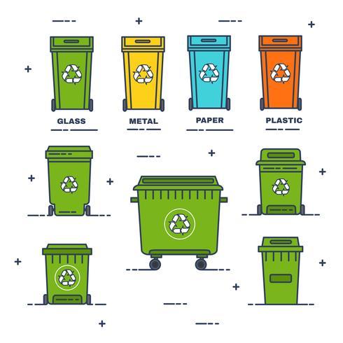 Recicle el vector de contenedores de basura