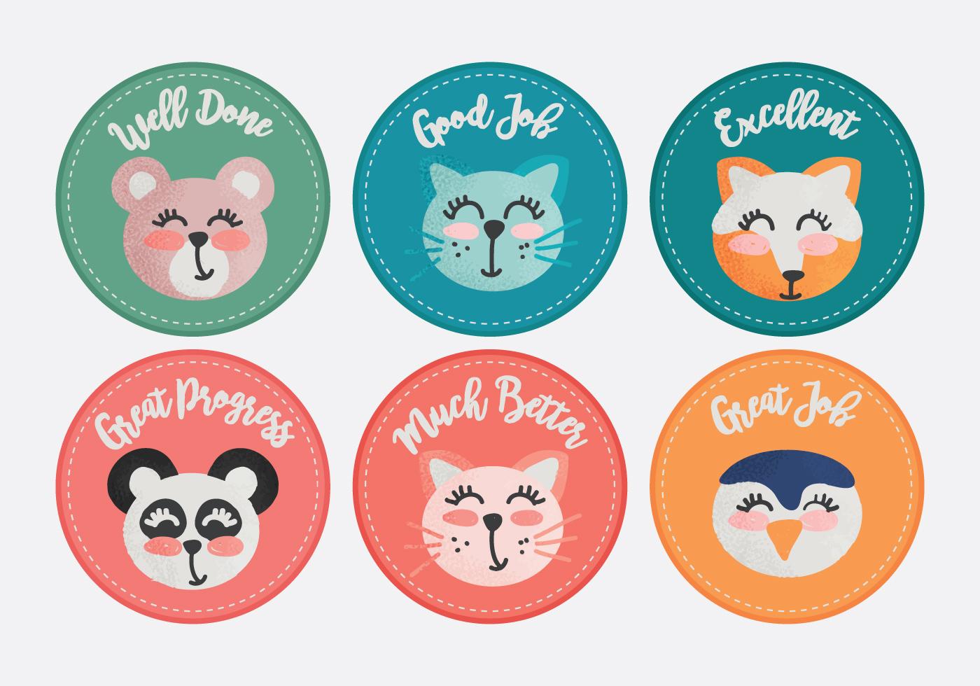 Vector Cute Animals Teacher Reward Stickers Download
