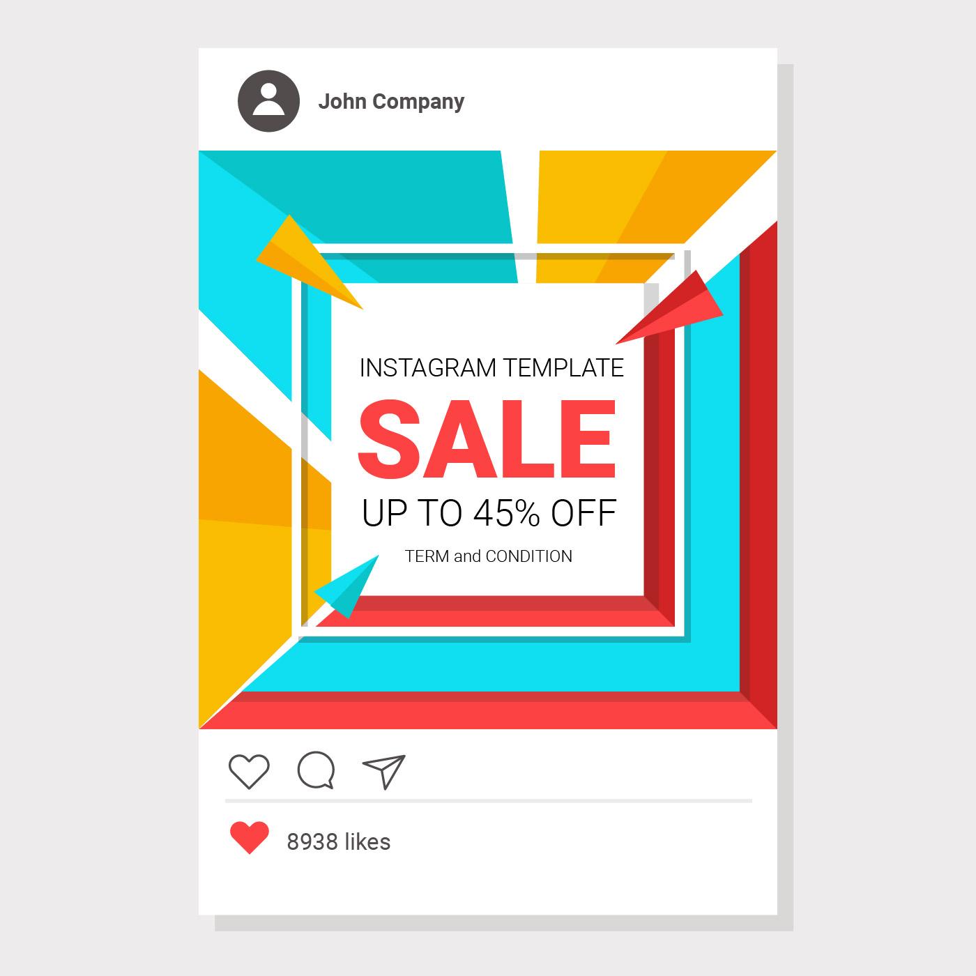 Vector Illustration Instagram: Colorful Sale Instagram Template Vector