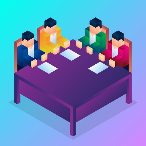 Isometric Business People Team Work Process Illustration vector