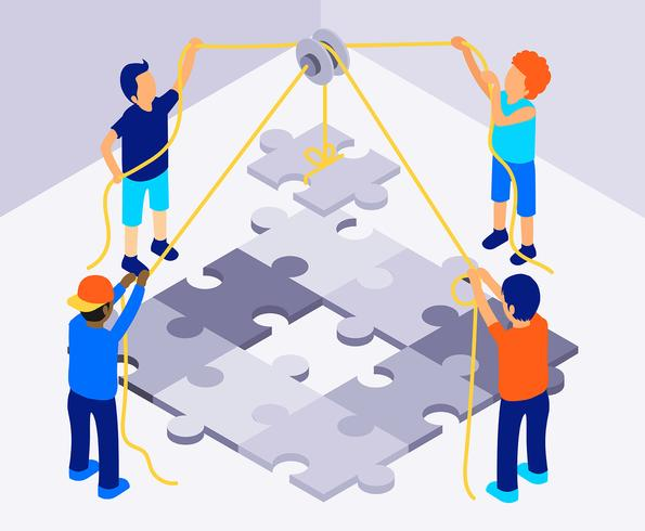 Isometric Teamwork Illustration