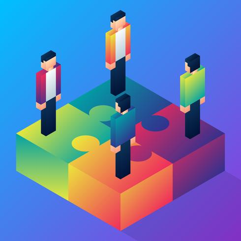 Isometric Business People Assembling Four Jigsaw Puzzle Teamwork Illustration