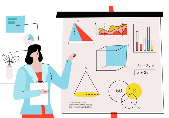 Beautifull Math Teacher Teaching Basic Theory In Front of Class Vector Illustration