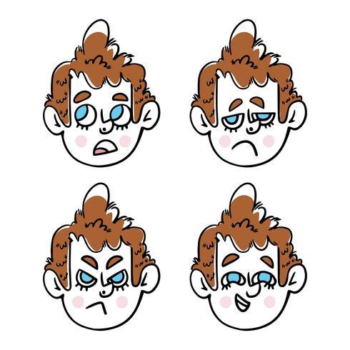 Personagem de menino bonito com coleção de Emoji