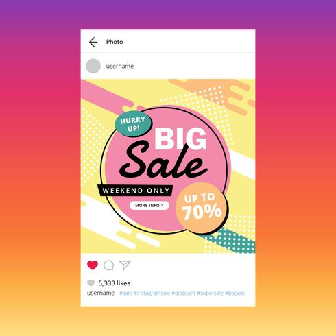 Modelo de vetor de venda de Instagram