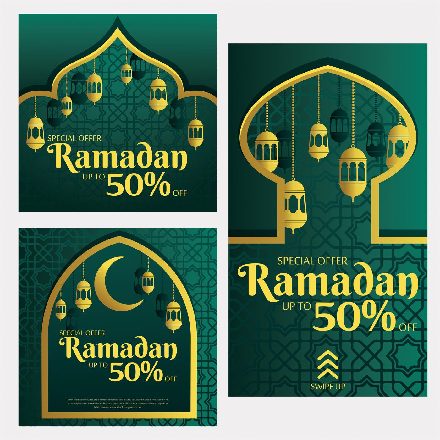 Vector Illustration Instagram: Instagram Ramadan Sale Template Vector Pack