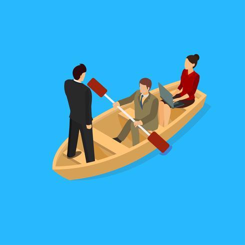 Barco de trabalho em equipe isométrica