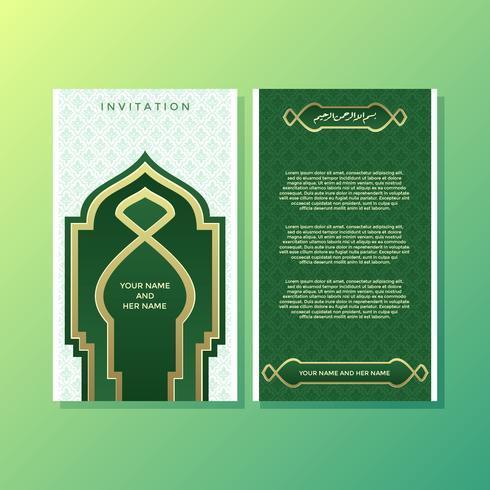 Vetor de modelo de convite estilo islâmico verde