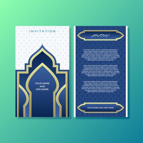Vetor de modelo de convite estilo islâmico azul