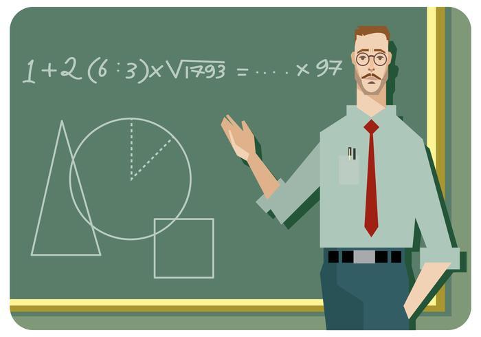 Man Math Lärare Vector