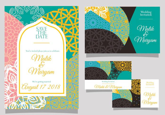 Convite de casamento com vetor de estilo islâmico