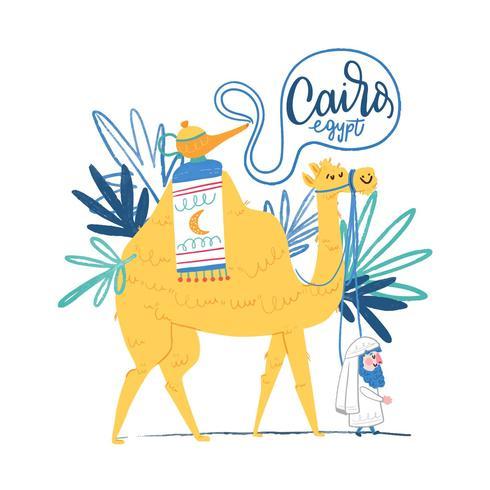 Lindo camello con hombre egipcio caminando