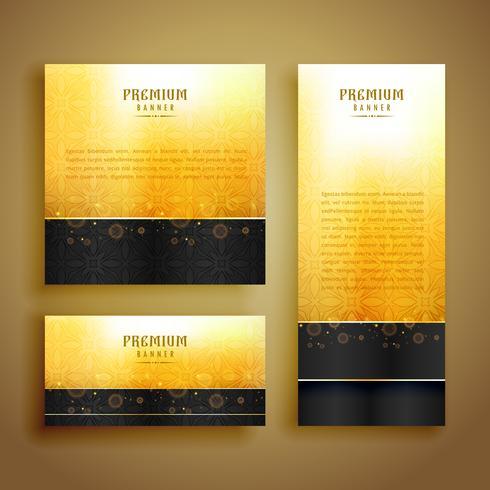 conjunto de design de cartão dourado de luxo