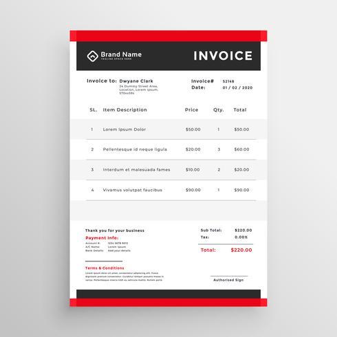 Stilvolle Rote Professionelle Rechnung Template Design Kostenlose