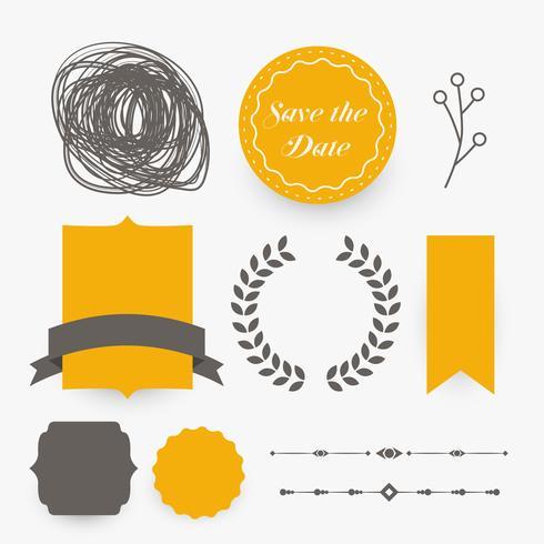 elementos de diseño de decoración de boda en tema amarillo