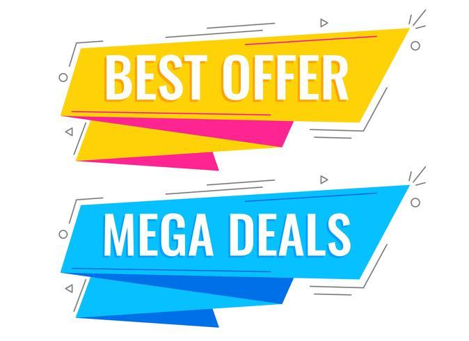banners de venda estilo memphis em cores brilhantes