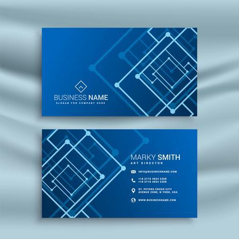 diseño de tarjeta de visita de forma abstracta azul