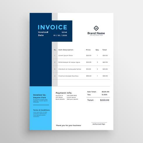 plantilla de factura comercial limpia azul