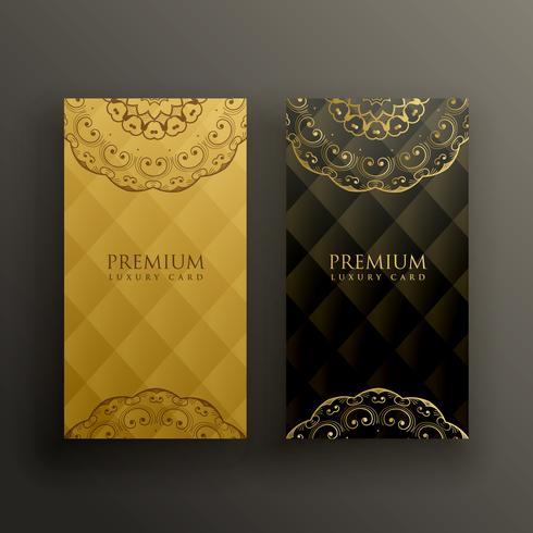 elegante diseño de tarjeta de oro premium mandala