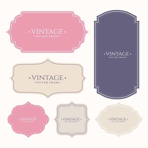 conjunto de rótulos de moldura vintage