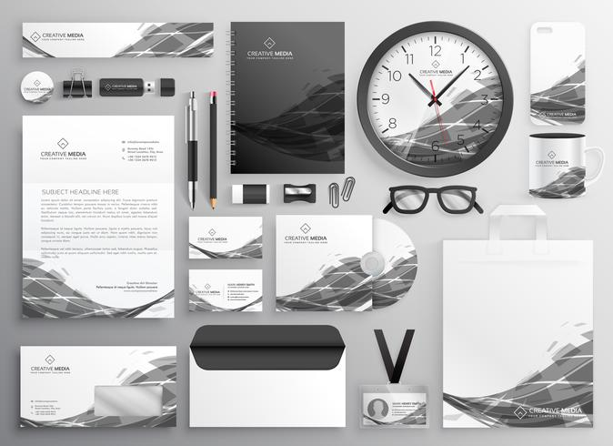 gray abstract business stationery items set