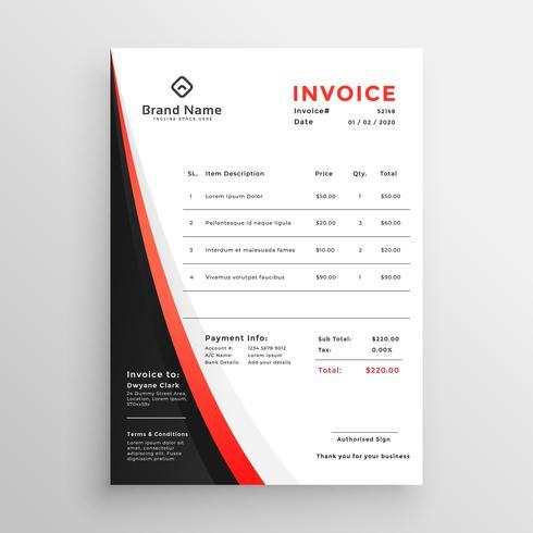 design de modelo elegante factura tema vermelho