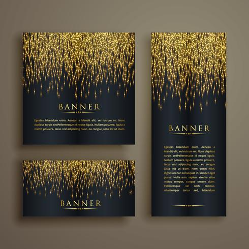 glänsande golden particle style banner set