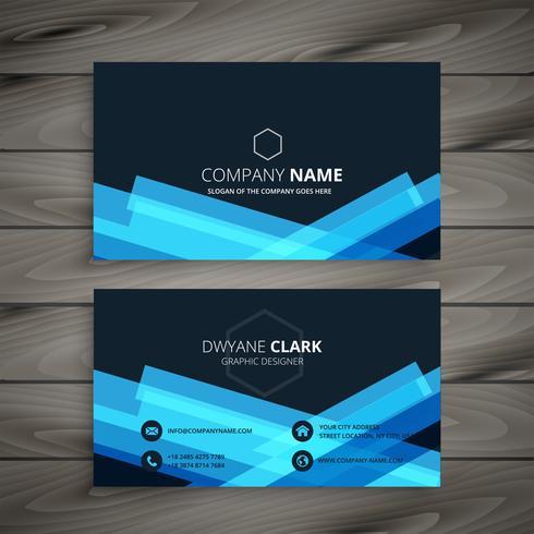diseño de tarjeta de visita azul oscuro abstracto