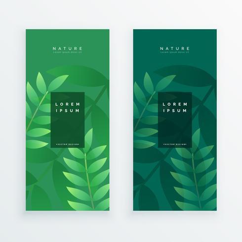 ensemble de deux feuilles verticales bannière
