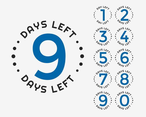 número de días que faltan distintivo o diseño de calcomanía