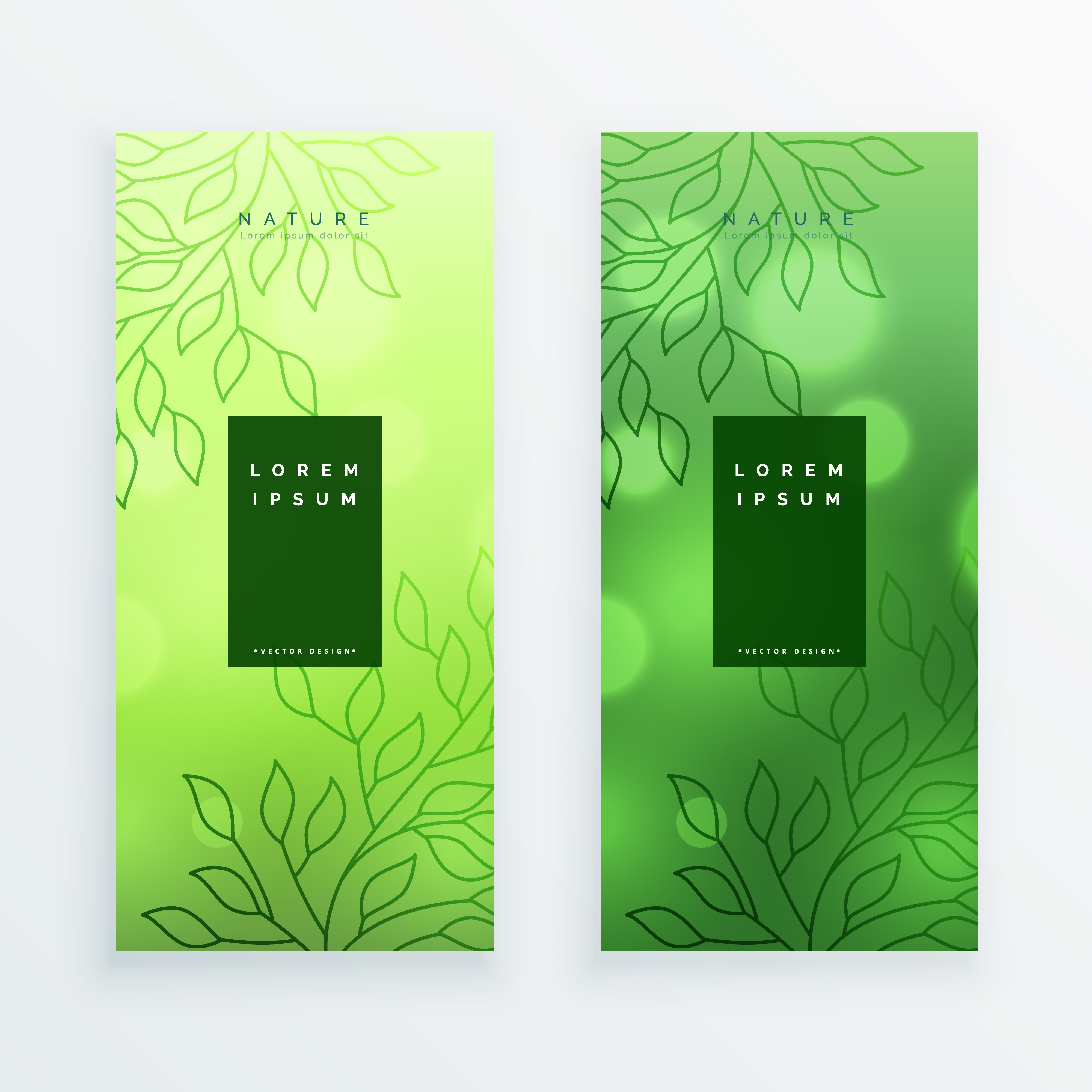 Awesome Green Leaves Vertical Banners