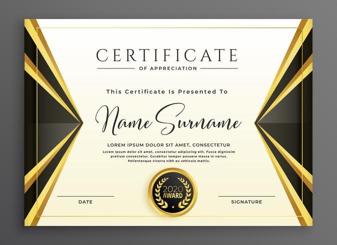 modelo de certificado criativo com formas de ouro de luxo