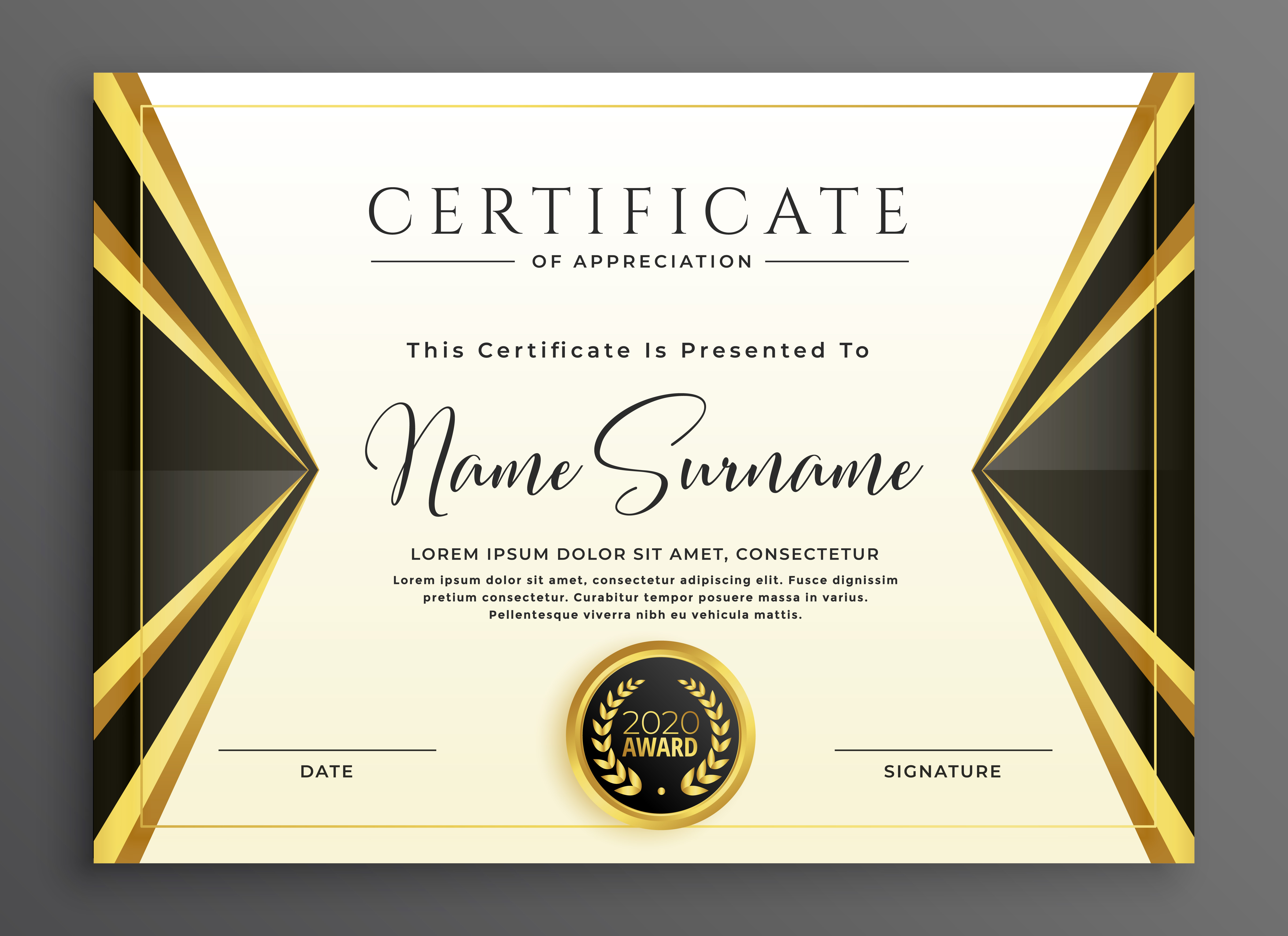 creative certificate template with luxury golden shapes ...