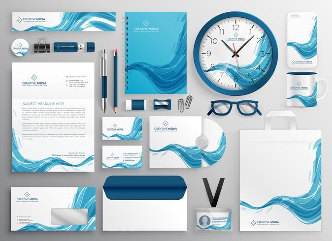 artículos de papelería de negocios modernos onda azul abstracto