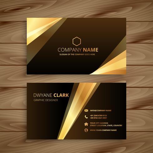 diseño de tarjeta de visita dorada brillante
