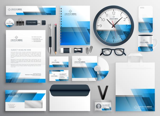 artigos de papelaria de negócios corporativos grande conjunto com design abstrato azul