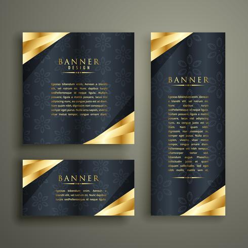 gyllene lyx banner design set
