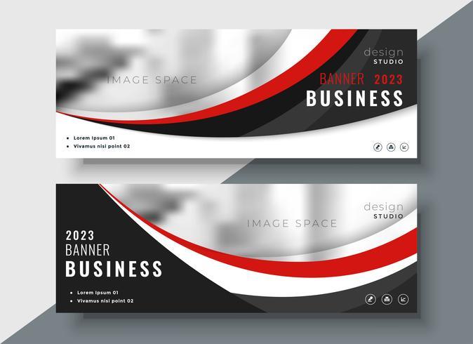 Banners de negócios de vermelho e preto design profissional