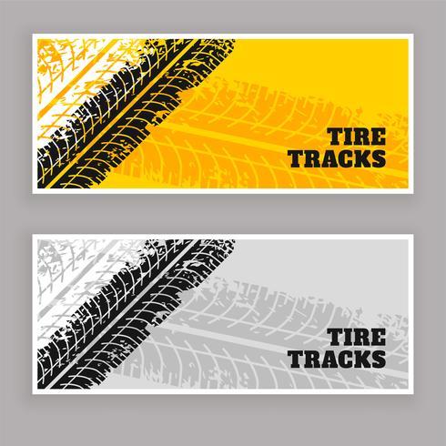 pneu traces bannières fond grunge