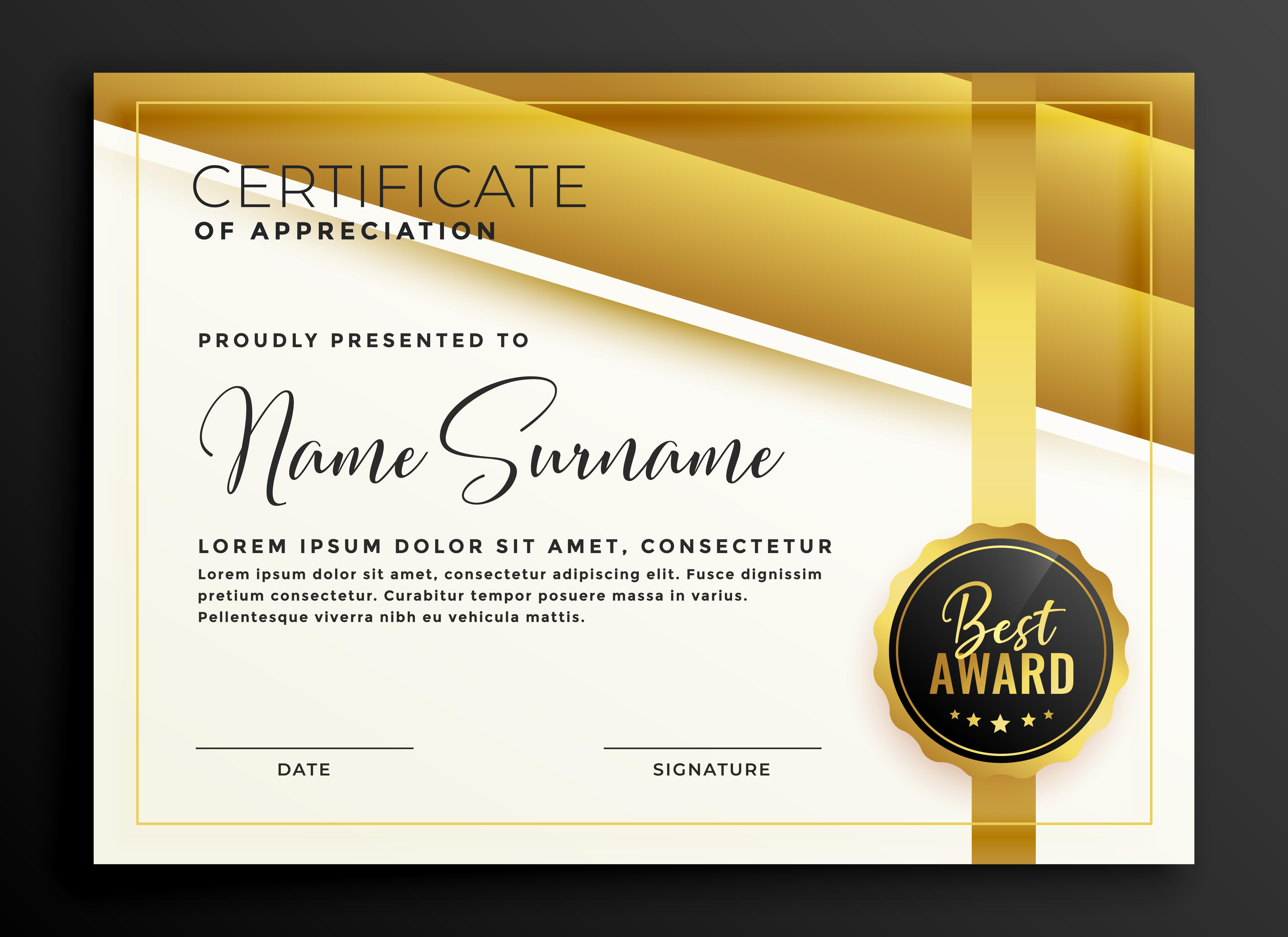 premium golden certificate diploma template