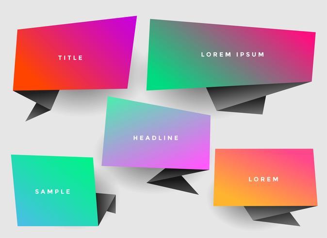 vibrante y elegante burbuja de chat de origami con copyspace